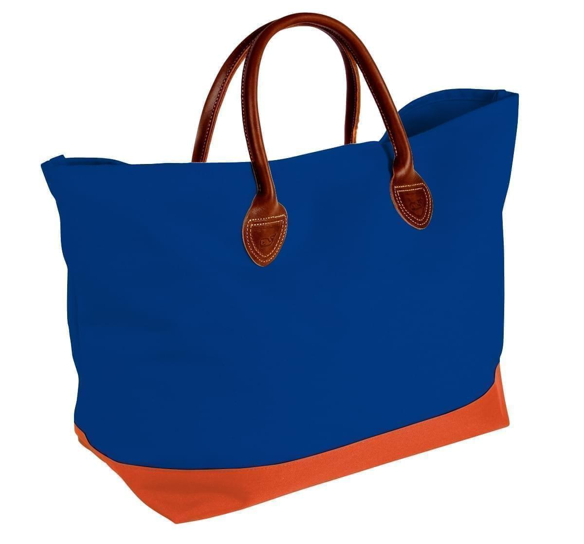 USA Made Canvas Leather Handle Totes, Royal Blue-Orange, 10899-JF9