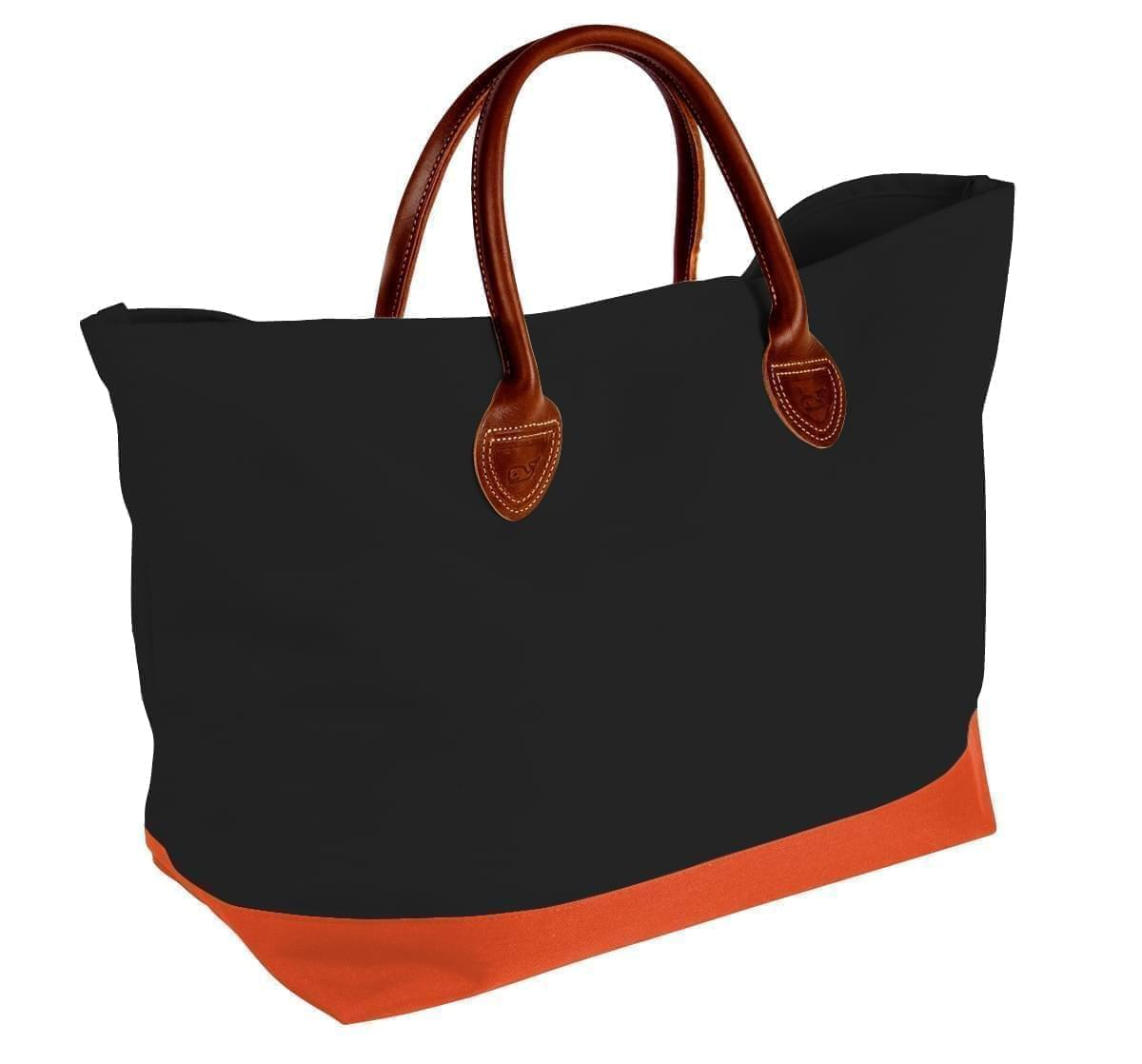 USA Made Canvas Leather Handle Totes, Black-Orange, 10899-JH9