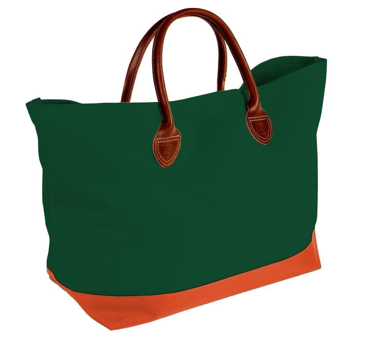USA Made Canvas Leather Handle Totes, Hunter Green-Orange, 10899-JI9