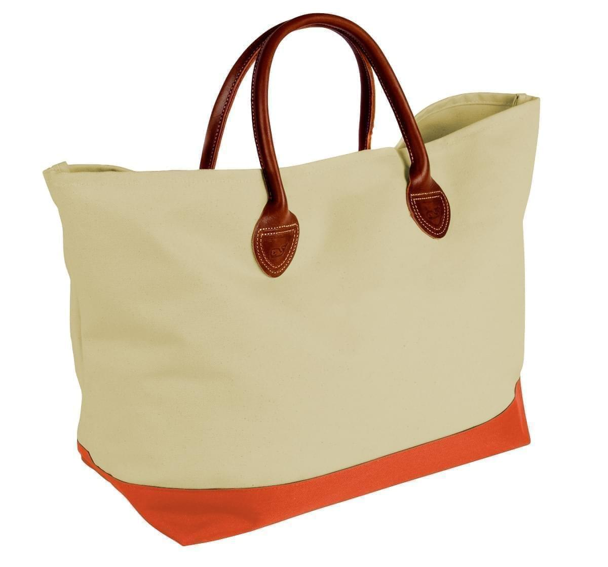USA Made Canvas Leather Handle Totes, Natural-Orange, 10899-JK9