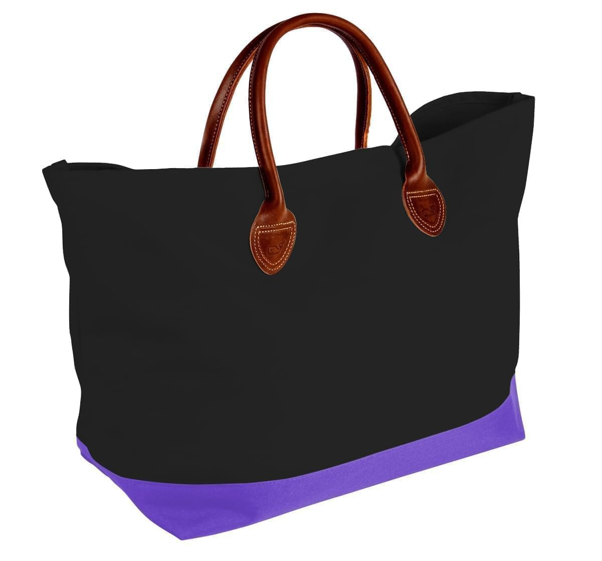 USA Made Canvas Leather Handle Totes, Black-Purple, 10899-KH9