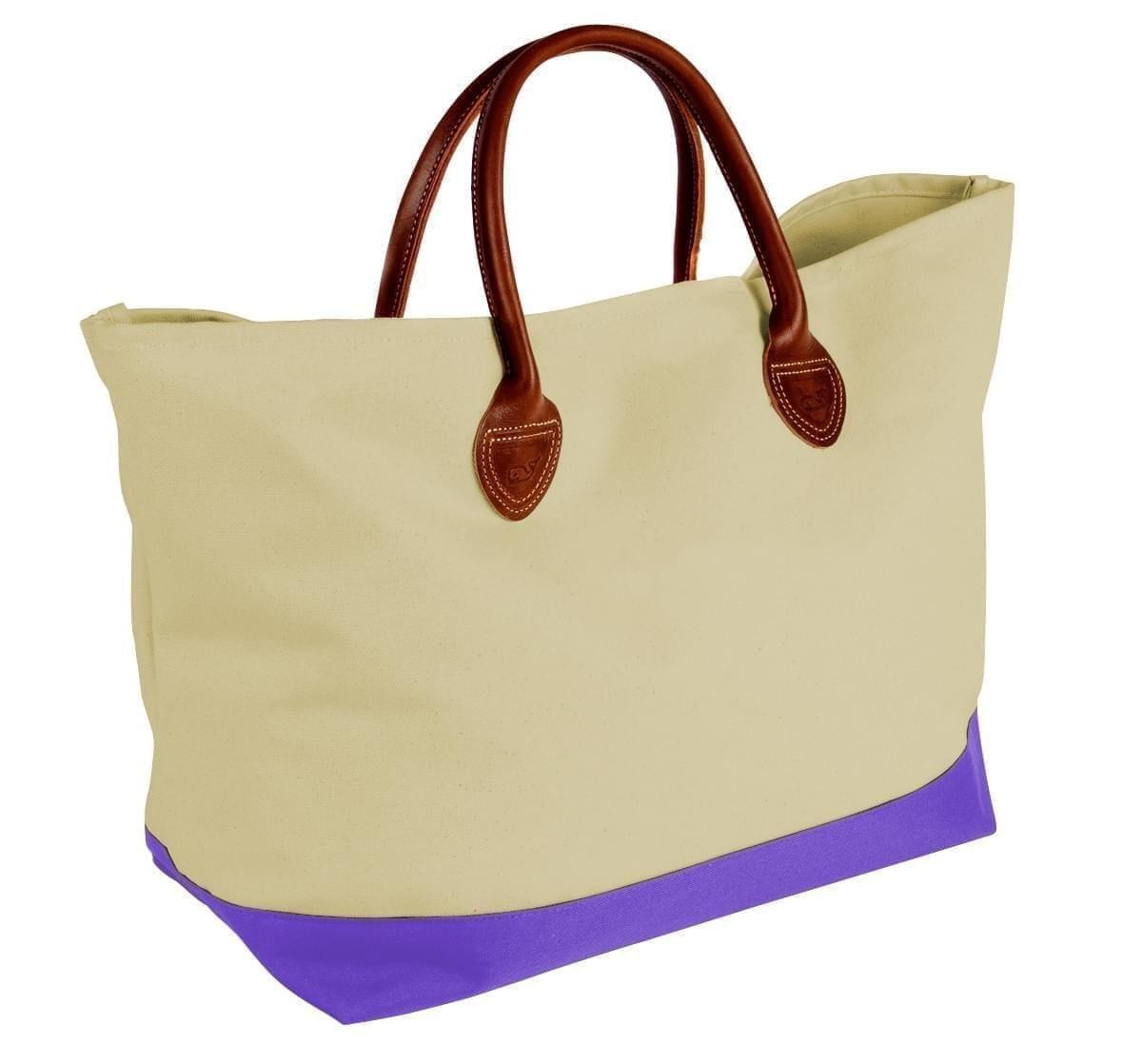 USA Made Canvas Leather Handle Totes, Natural-Purple, 10899-KK9