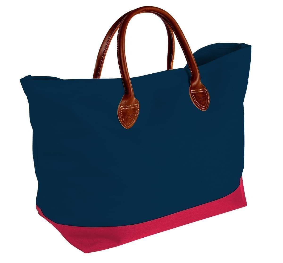 USA Made Canvas Leather Handle Totes, Navy-Red, 10899-LC9