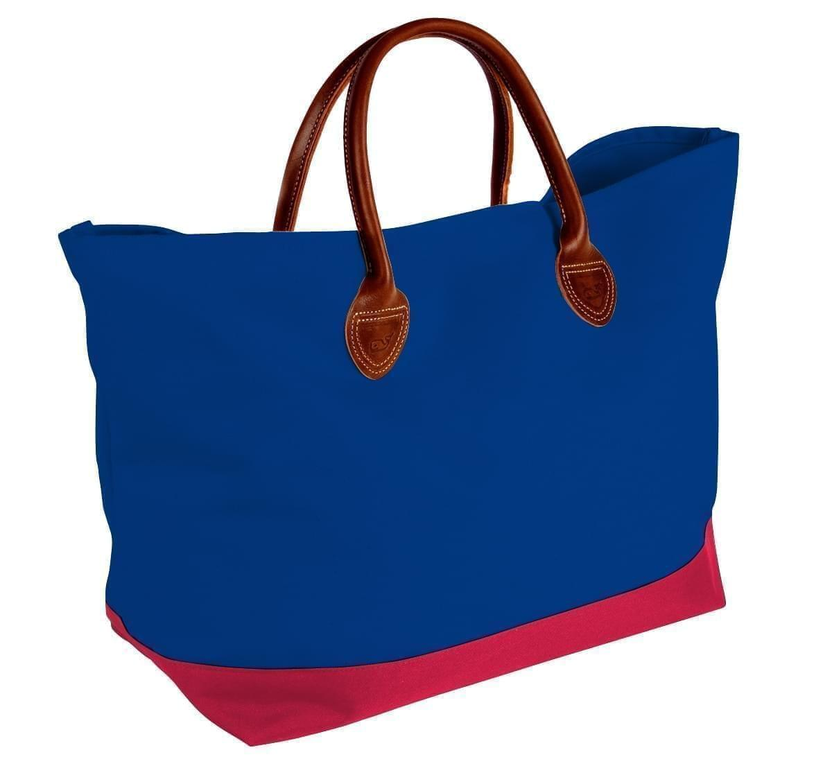 USA Made Canvas Leather Handle Totes, Royal Blue-Red, 10899-LF9