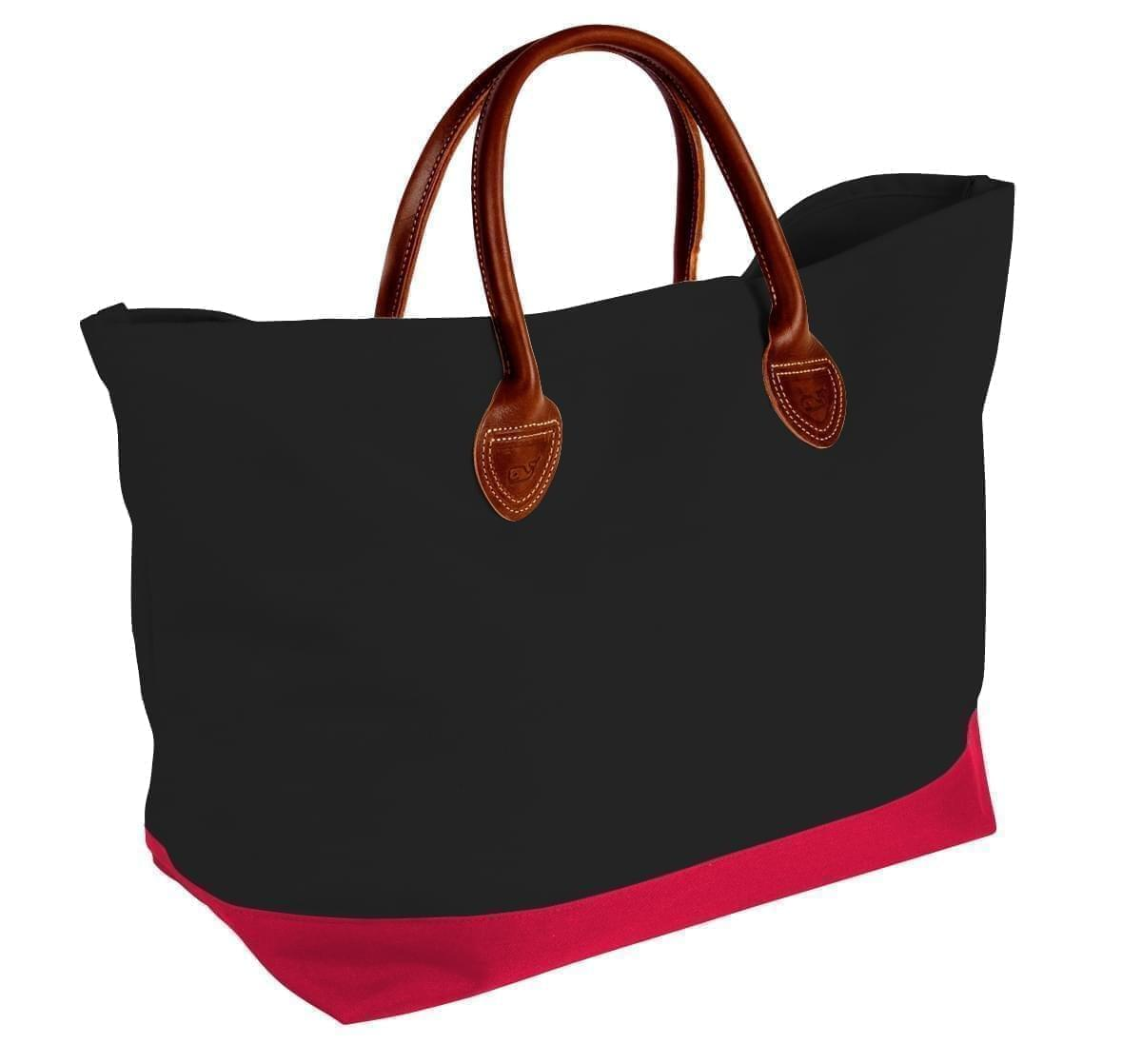 USA Made Canvas Leather Handle Totes, Black-Red, 10899-LH9