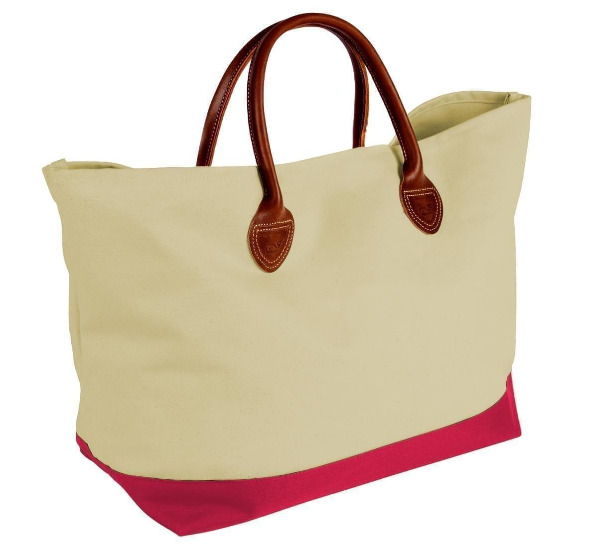 USA Made Canvas Leather Handle Totes, Natural-Red, 10899-LK9