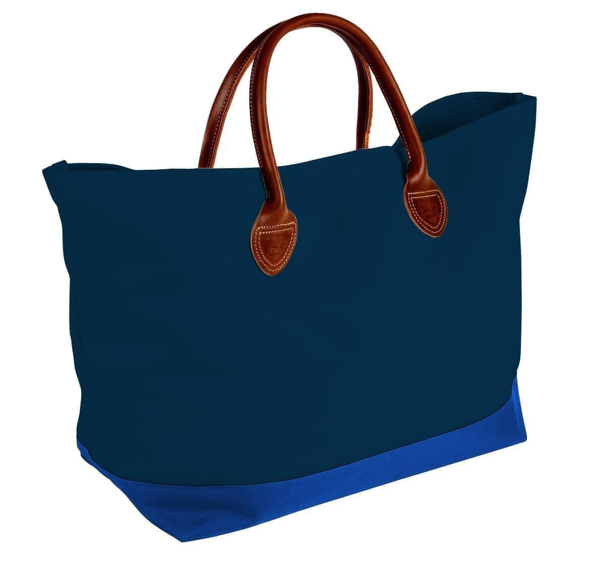 USA Made Canvas Leather Handle Totes, Navy-Royal Blue, 10899-MC9