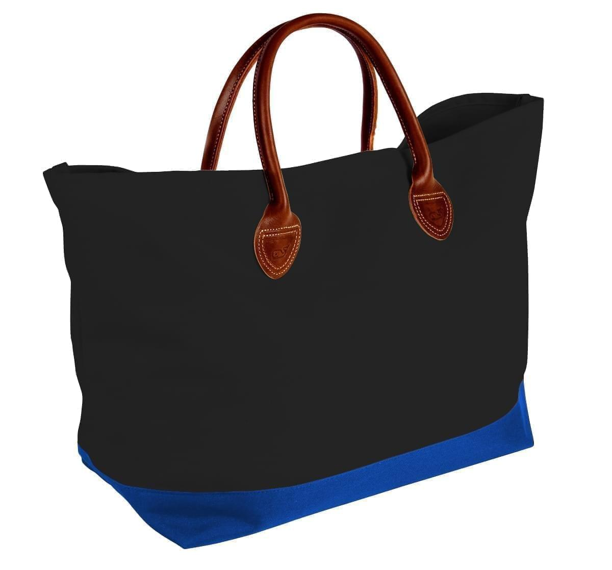 USA Made Canvas Leather Handle Totes, Black-Royal Blue, 10899-MH9