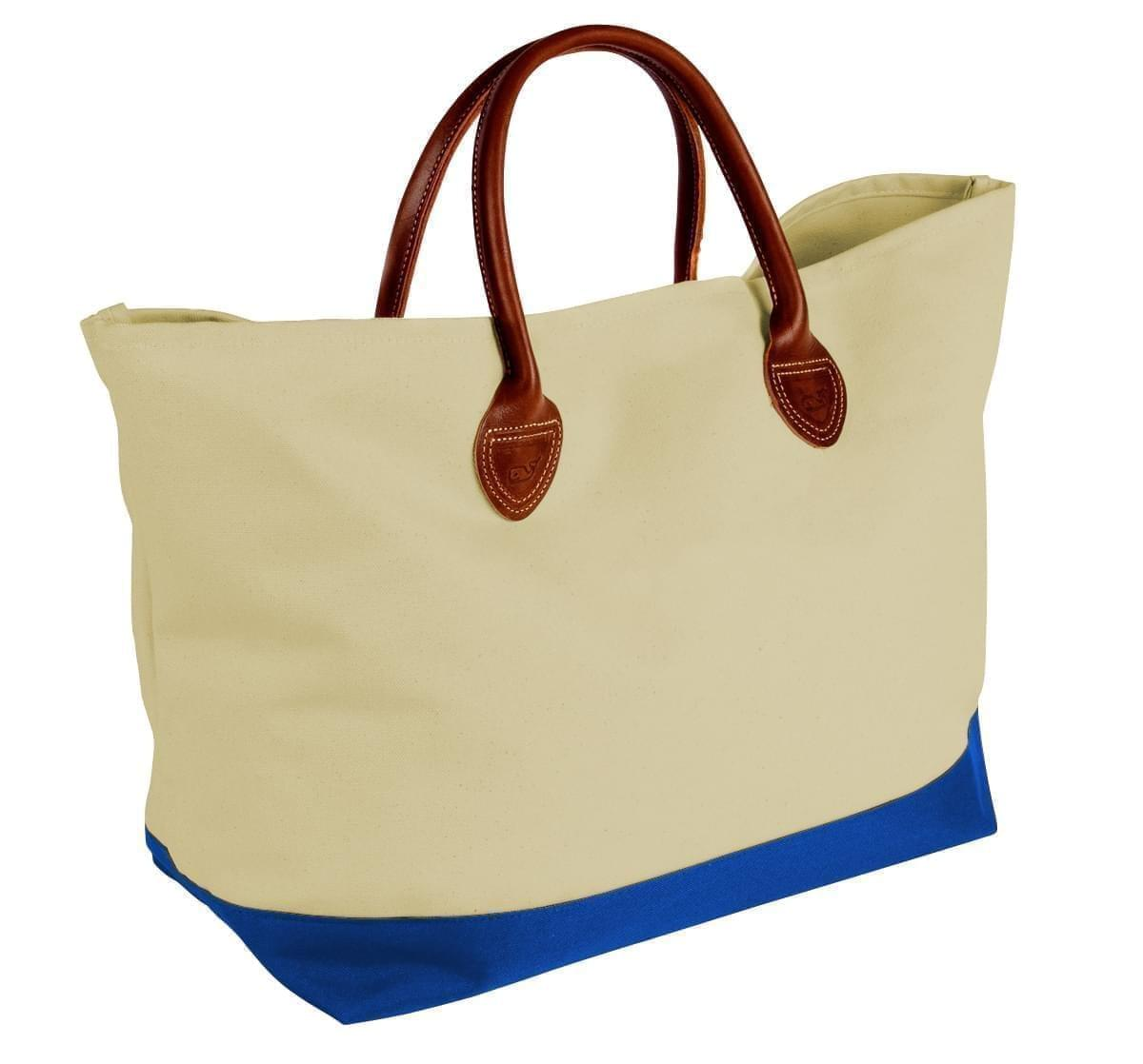 USA Made Canvas Leather Handle Totes, Natural-Royal Blue, 10899-MK9