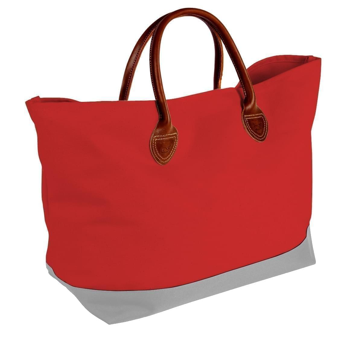 USA Made Canvas Leather Handle Totes, Red-Grey, 10899-NE9
