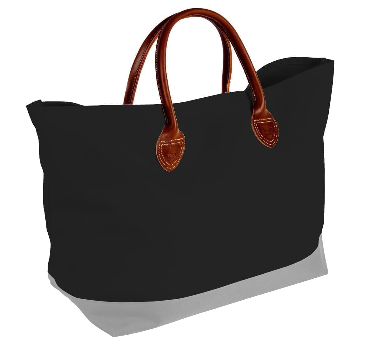 USA Made Canvas Leather Handle Totes, Black-Grey, 10899-NH9