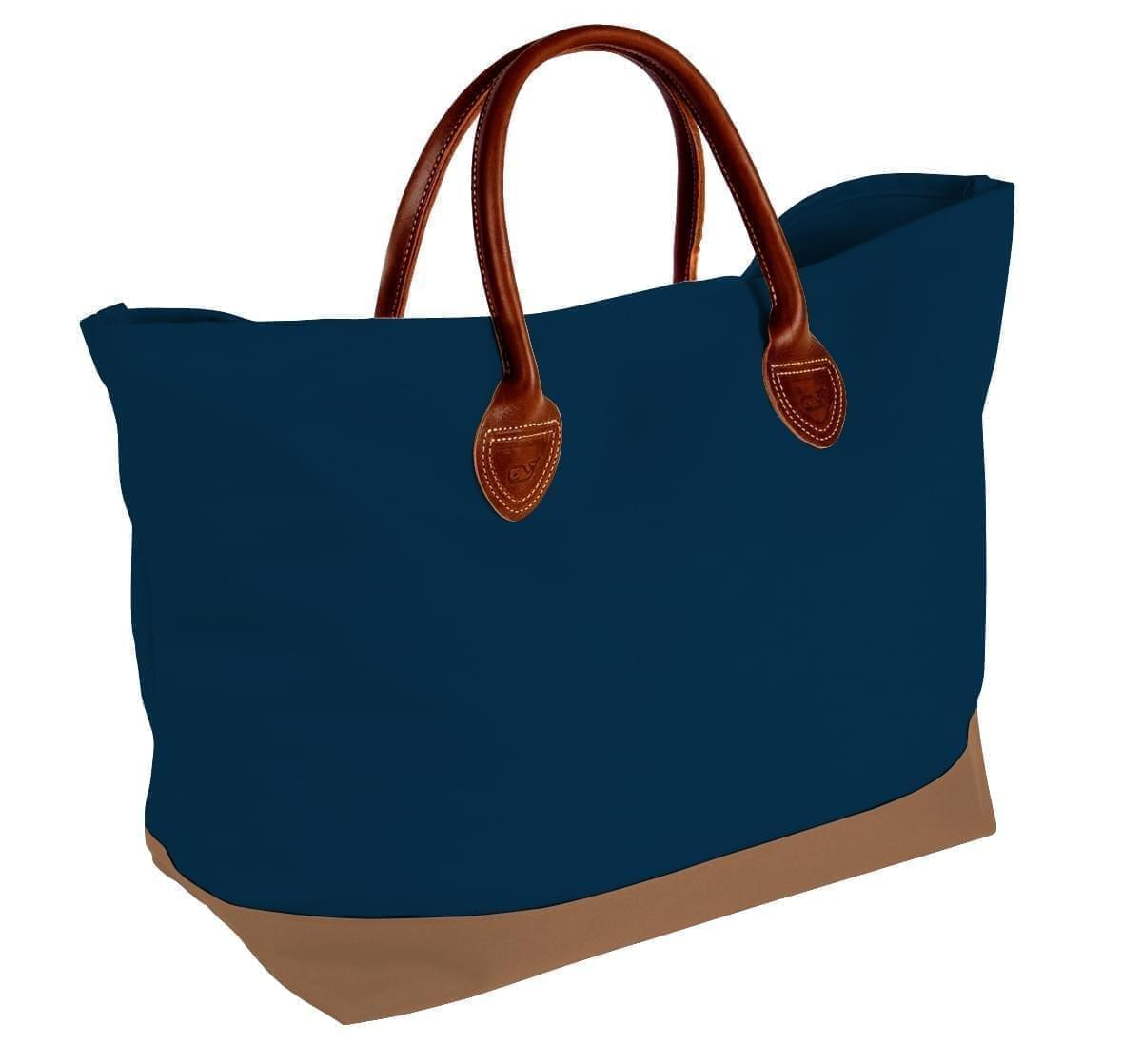 USA Made Canvas Leather Handle Totes, Navy-Bronze, 10899-OC9