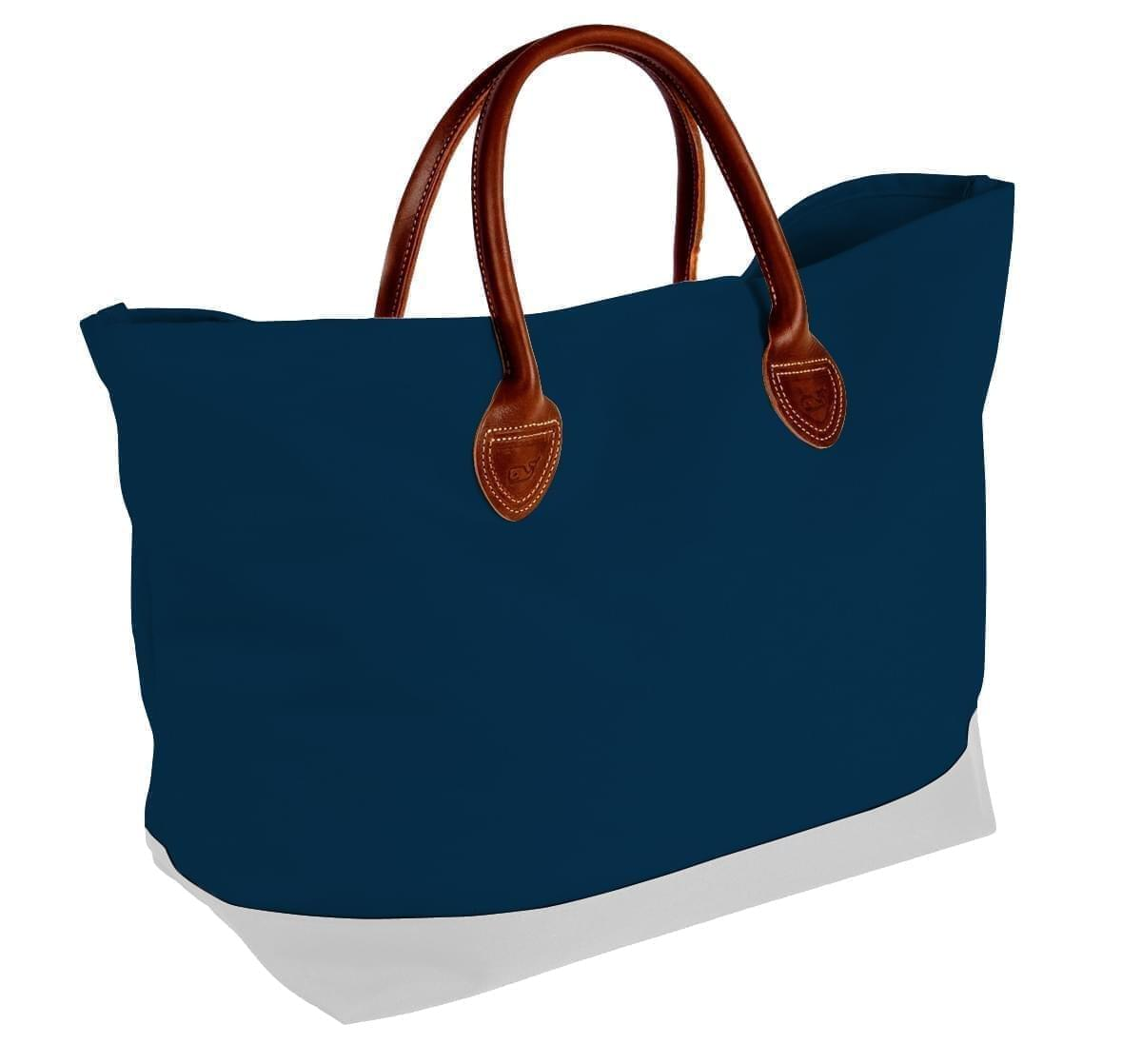USA Made Canvas Leather Handle Totes, Navy-White, 10899-PC9