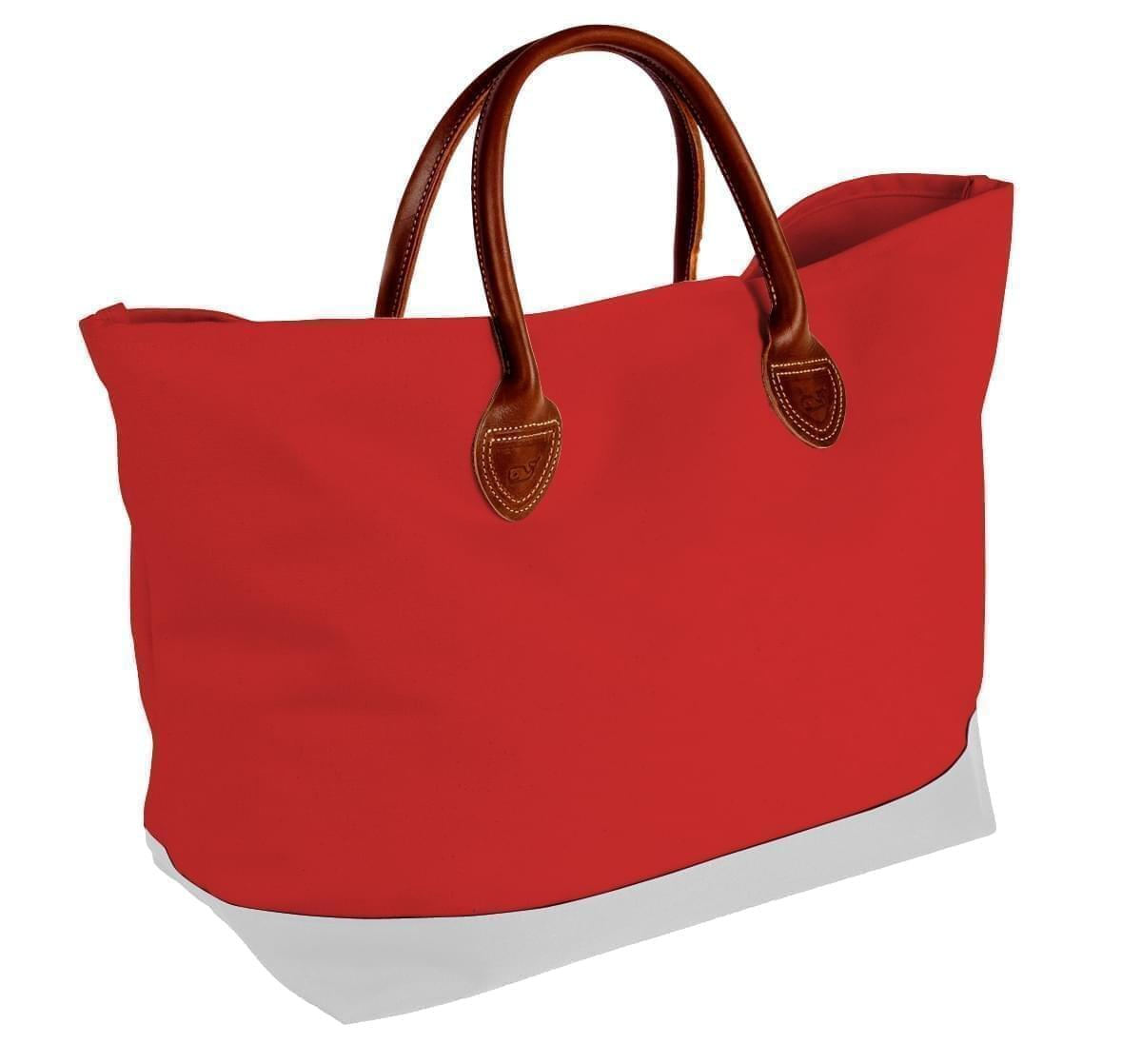 USA Made Canvas Leather Handle Totes, Red-White, 10899-PE9