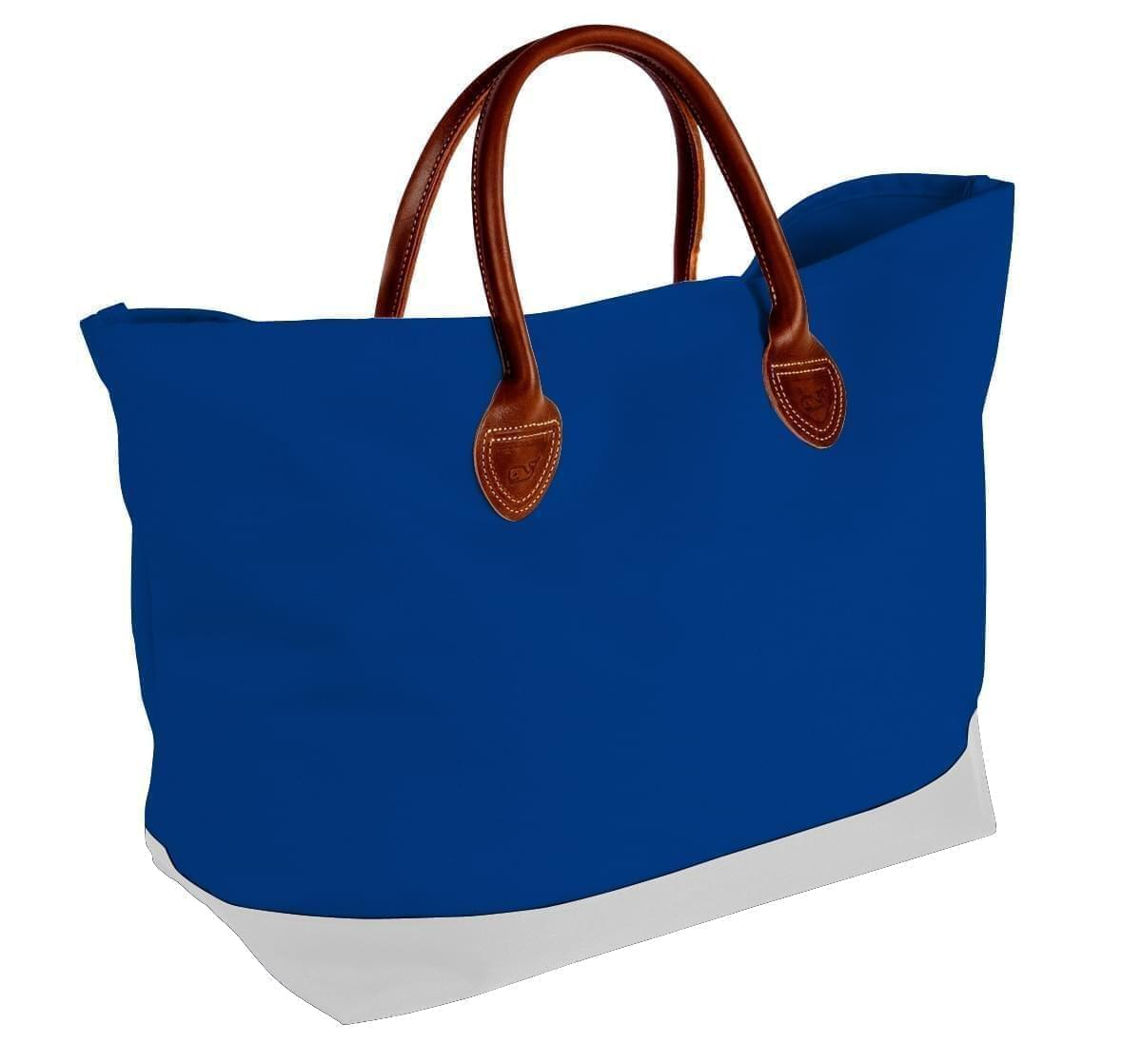 USA Made Canvas Leather Handle Totes, Royal Blue-White, 10899-PF9