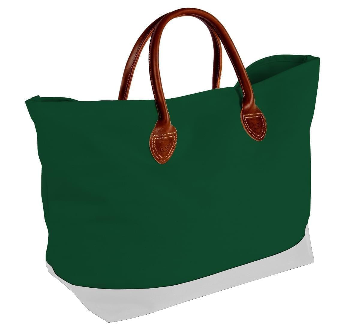 USA Made Canvas Leather Handle Totes, Hunter Green-White, 10899-PI9