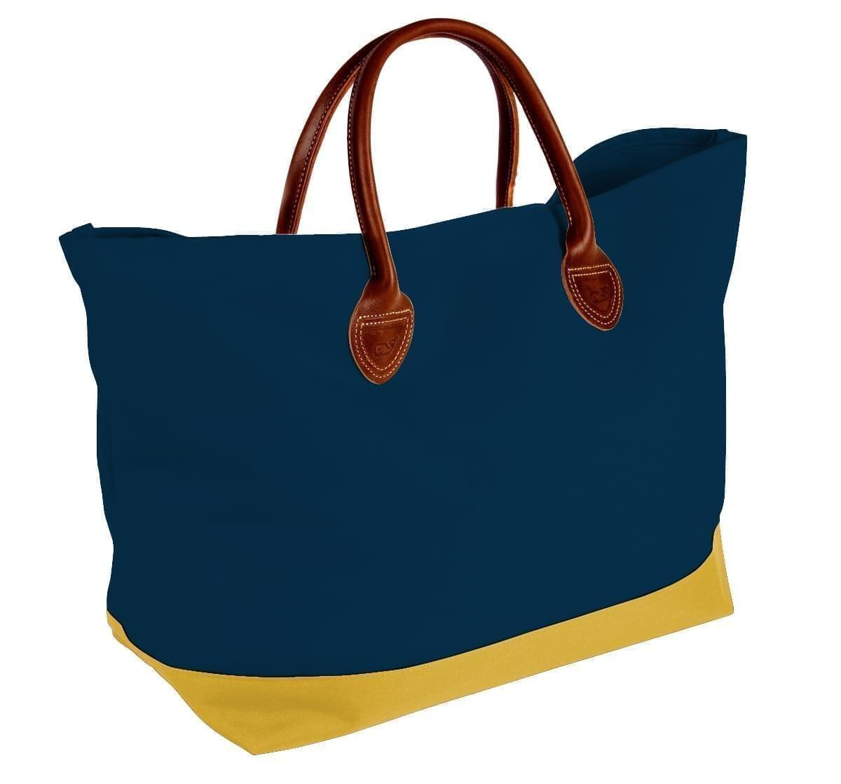 USA Made Canvas Leather Handle Totes, Navy-Gold, 10899-QC9