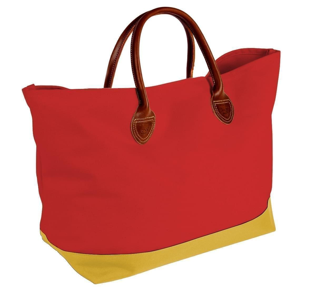 USA Made Canvas Leather Handle Totes, Red-Gold, 10899-QE9