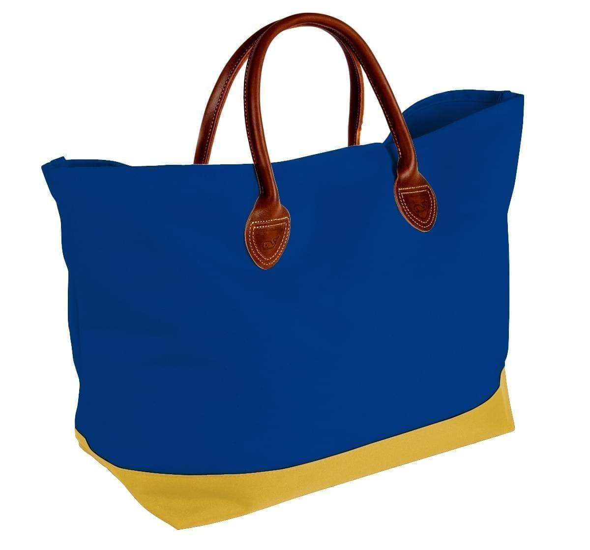 USA Made Canvas Leather Handle Totes, Royal Blue-Gold, 10899-QF9