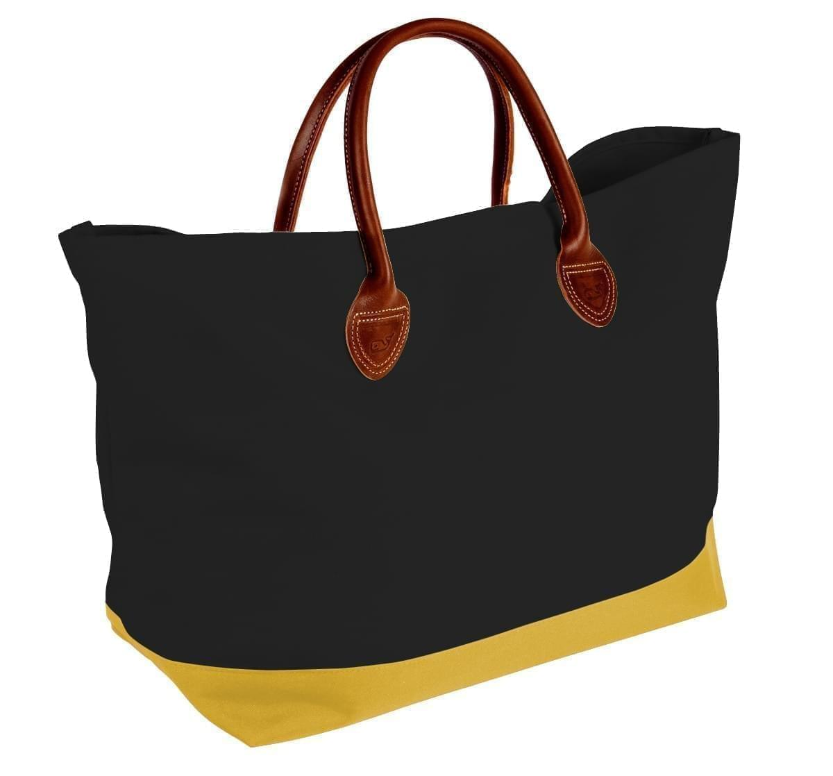 USA Made Canvas Leather Handle Totes, Black-Gold, 10899-QH9