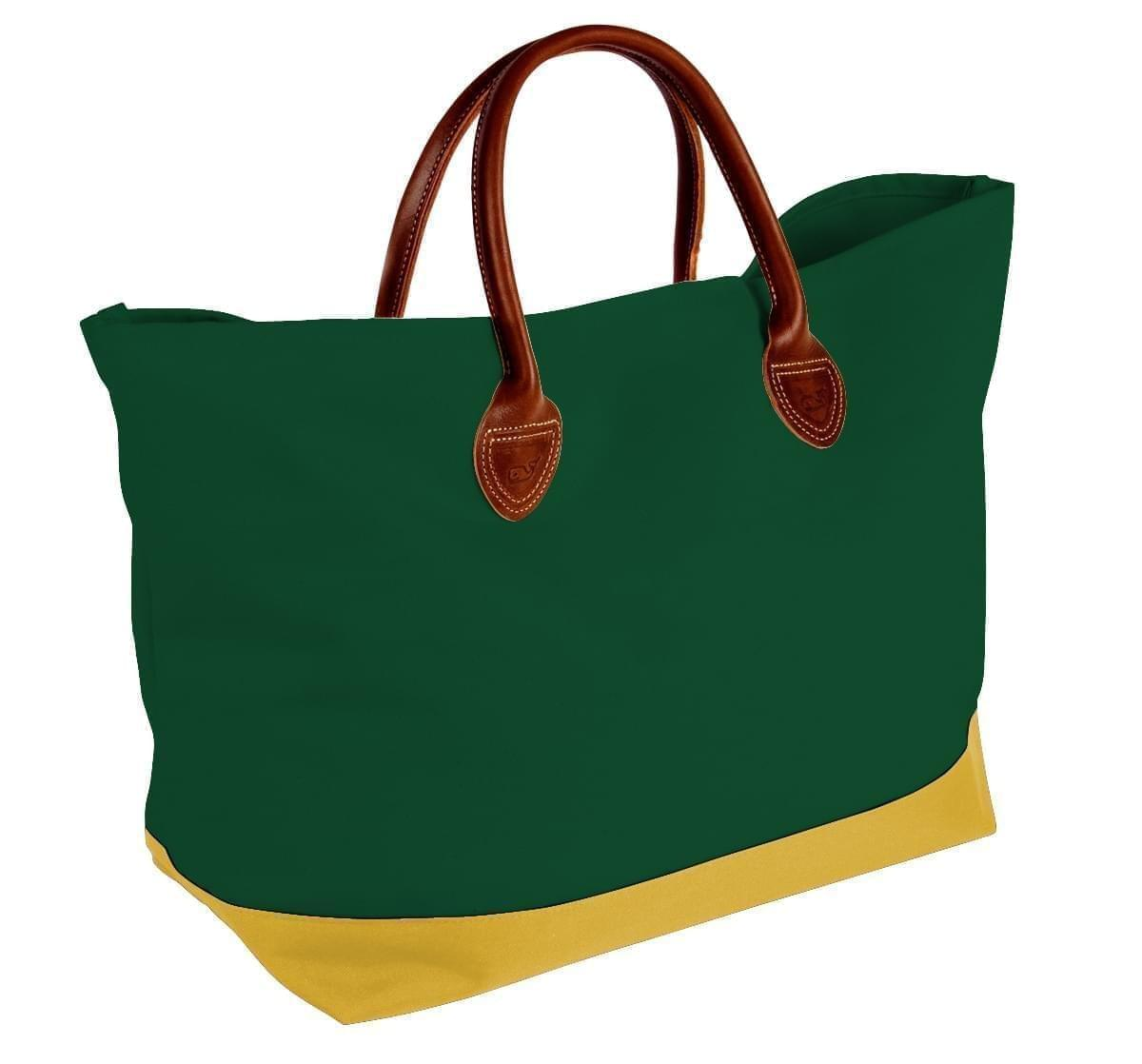 USA Made Canvas Leather Handle Totes, Hunter Green-Gold, 10899-QI9