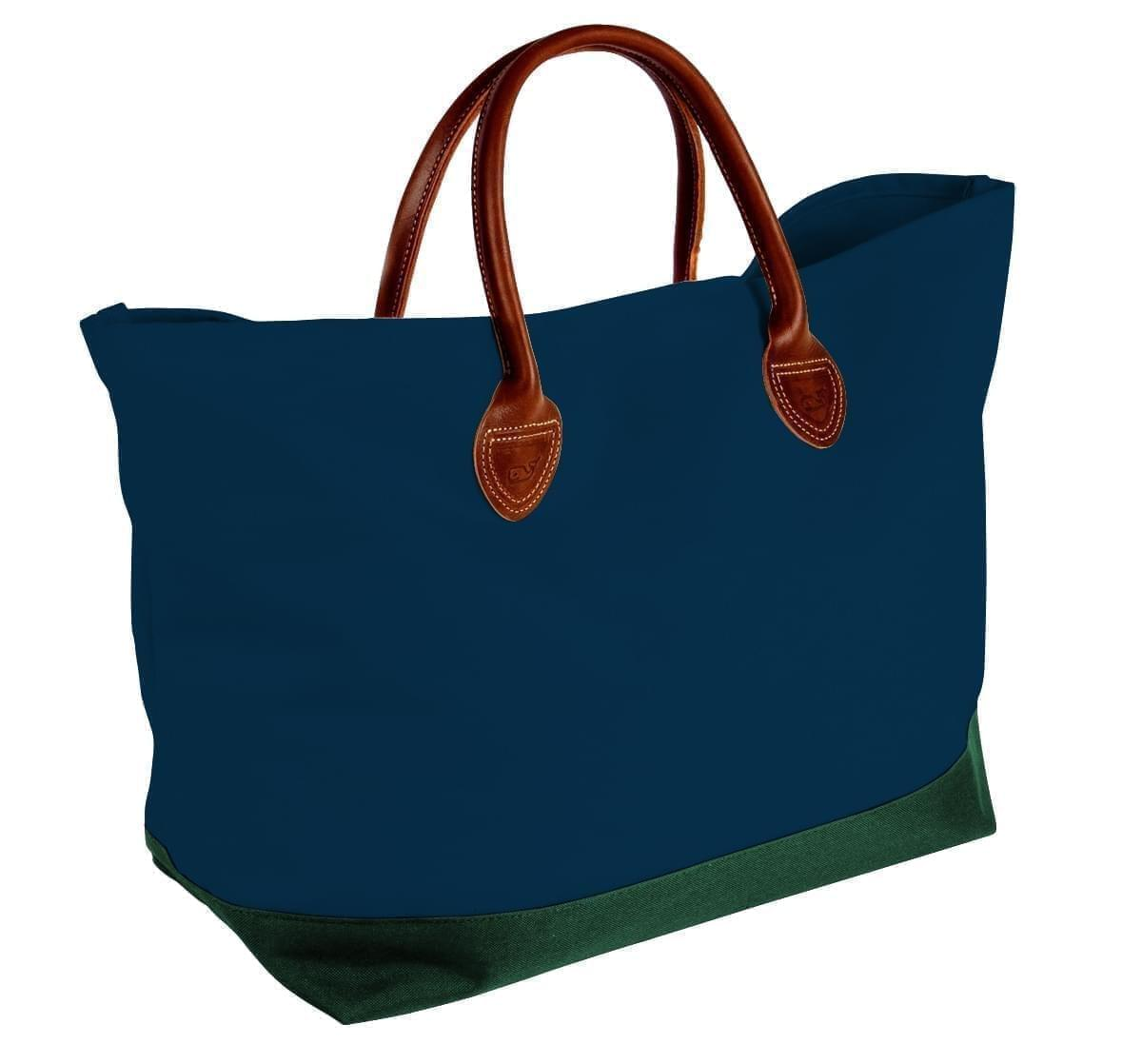 USA Made Canvas Leather Handle Totes, Navy-Hunter Green, 10899-VC9
