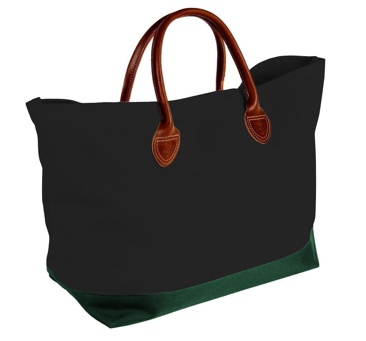USA Made Canvas Leather Handle Totes, Black-Hunter Green, 10899-VH9