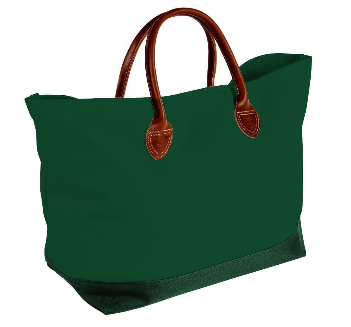 USA Made Canvas Leather Handle Totes, Hunter Green-Hunter Green, 10899-VI9