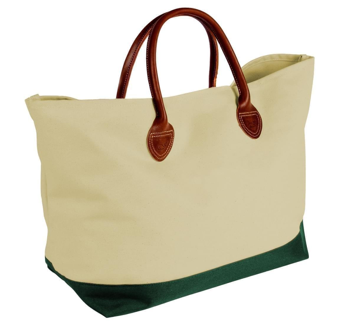 USA Made Canvas Leather Handle Totes, Natural-Hunter Green, 10899-VK9