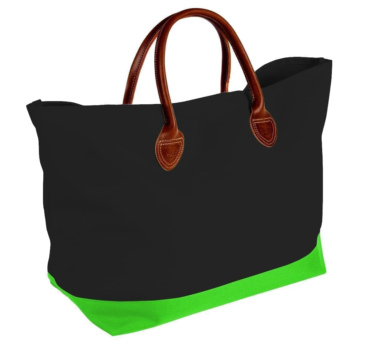 USA Made Canvas Leather Handle Totes, Black-Lime, 10899-YH9