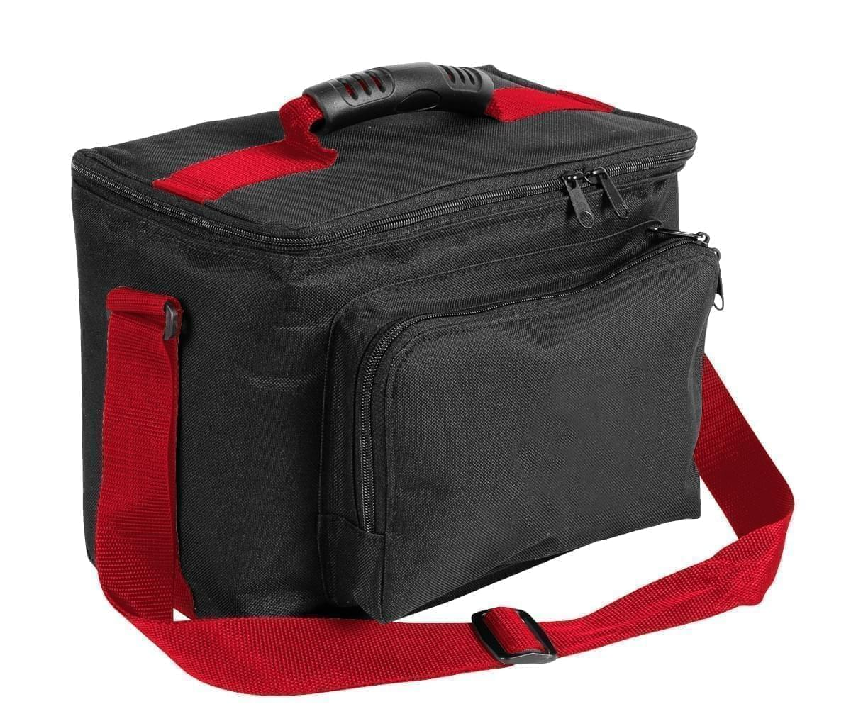 USA Made Nylon Poly Lunch Coolers, Black-Red, 11001161-AO2