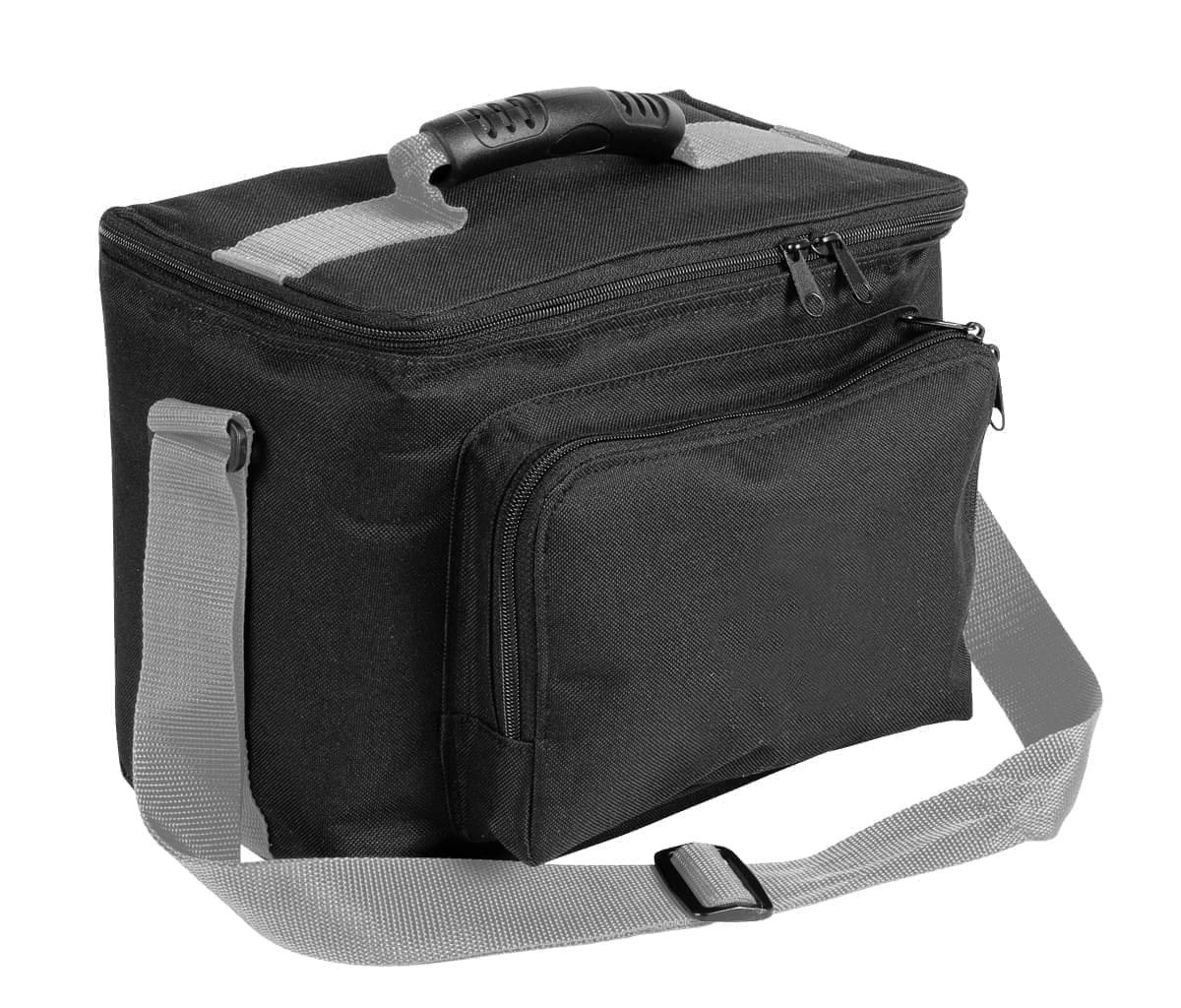 USA Made Nylon Poly Lunch Coolers, Black-Grey, 11001161-AOU