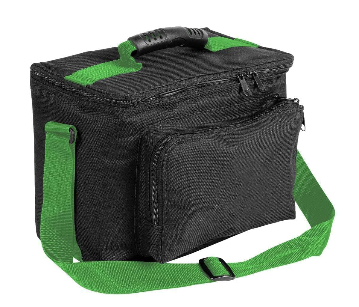 USA Made Nylon Poly Lunch Coolers, Black-Lime, 11001161-AOY