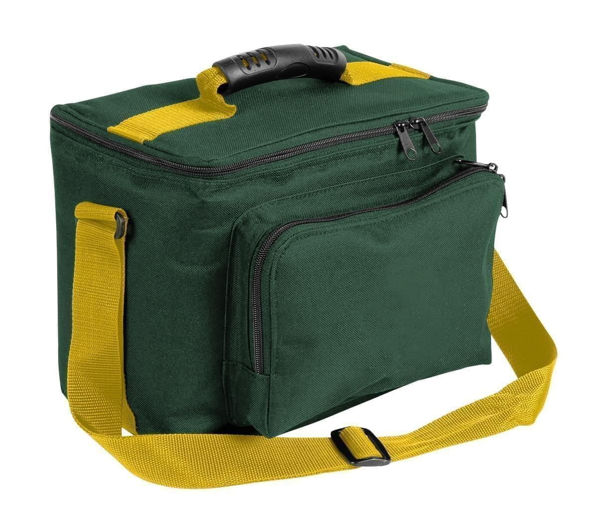 USA Made Nylon Poly Lunch Coolers, Hunter Green-Gold, 11001161-AS5