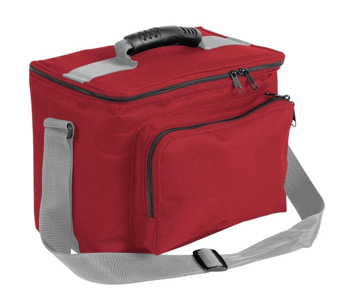 USA Made Nylon Poly Lunch Coolers, Red-Grey, 11001161-AZU
