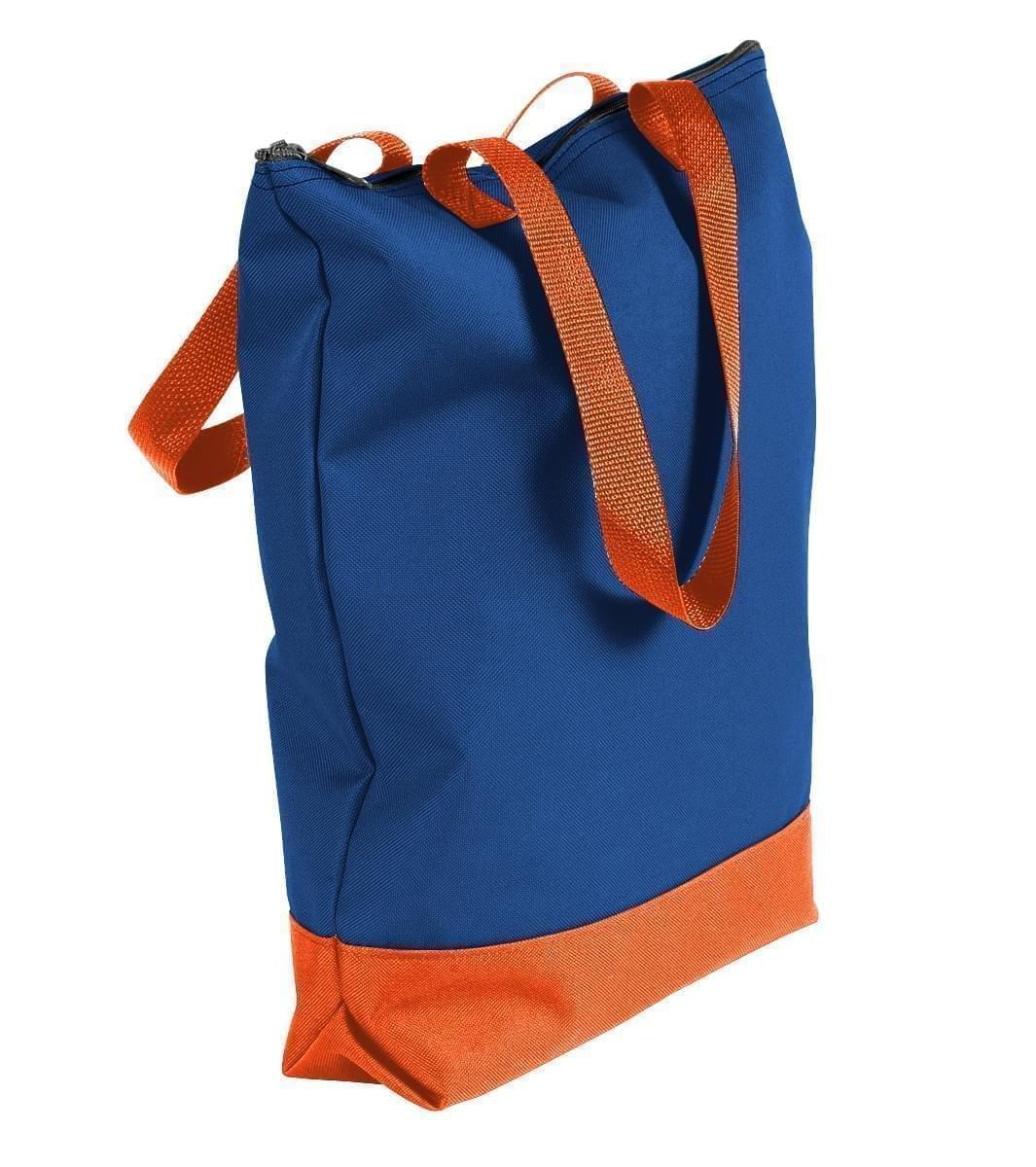 USA Made Poly Notebook Tote Bags, Royal Blue-Orange, 1AAMX1UA00