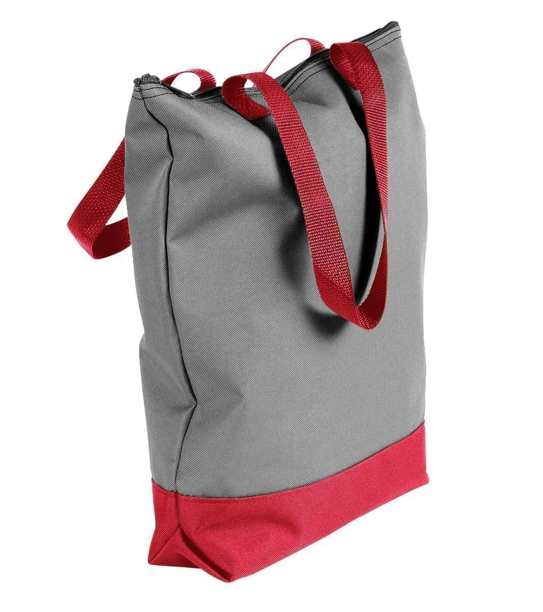 USA Made Poly Notebook Tote Bags, Grey-Red, 1AAMX1UA12