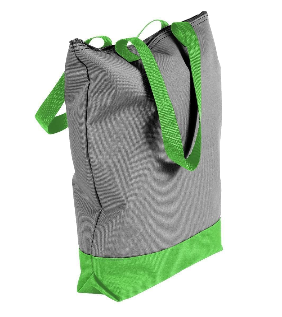USA Made Poly Notebook Tote Bags, Grey-Lime, 1AAMX1UA1Y