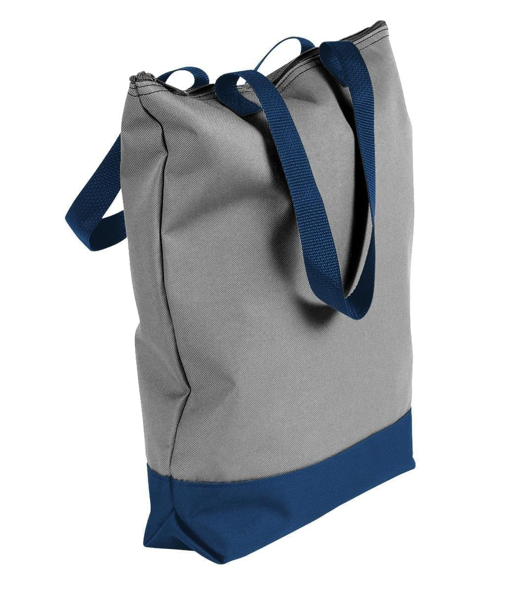 USA Made Poly Notebook Tote Bags, Grey-Navy, 1AAMX1UA1Z