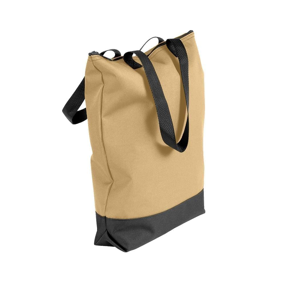 USA Made Poly Notebook Tote Bags, Khaki-Black, 1AAMX1UA2R