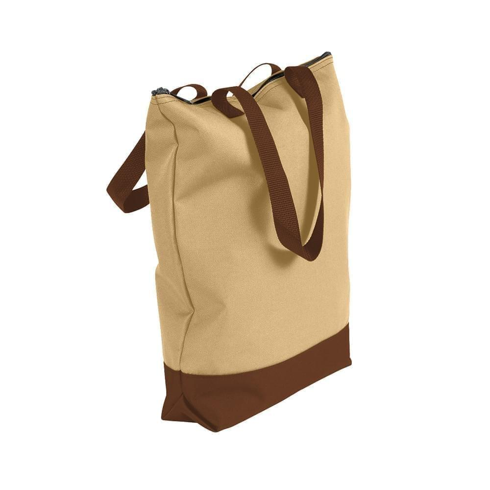 USA Made Poly Notebook Tote Bags, Khaki-Brown, 1AAMX1UA2S