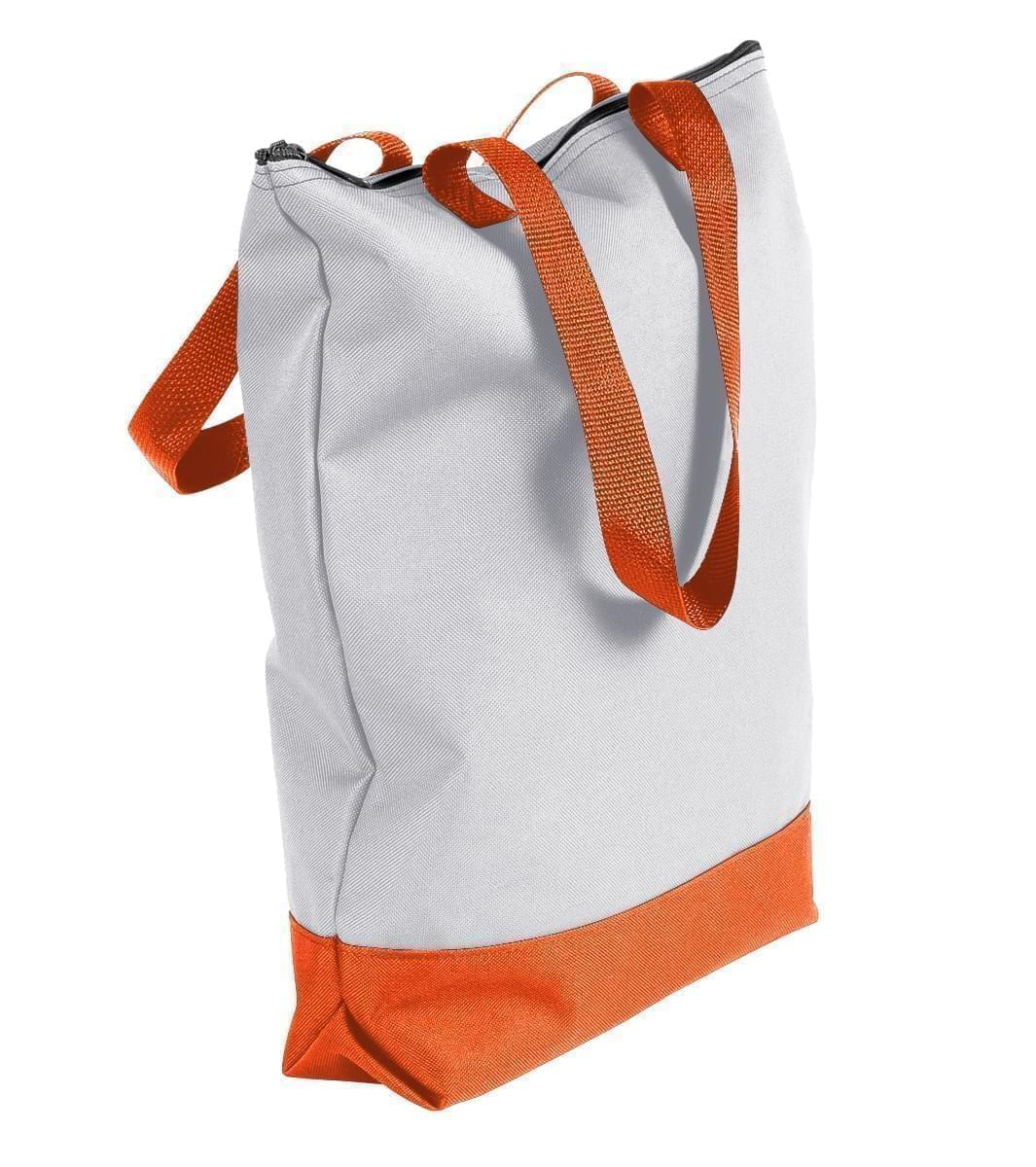 USA Made Poly Notebook Tote Bags, White-Orange, 1AAMX1UA30