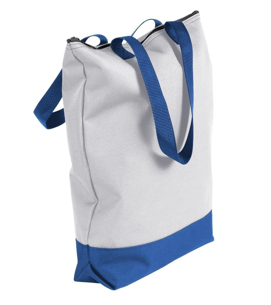 USA Made Poly Notebook Tote Bags, White-Royal Blue, 1AAMX1UA33