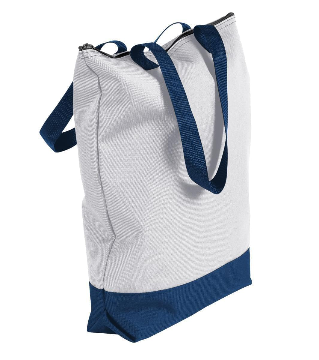 USA Made Poly Notebook Tote Bags, White-Navy, 1AAMX1UA3Z