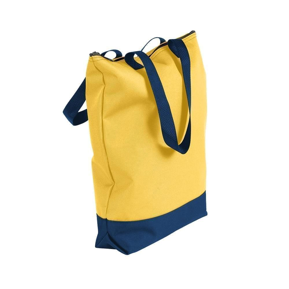USA Made Poly Notebook Tote Bags, Gold-Navy, 1AAMX1UA4Z