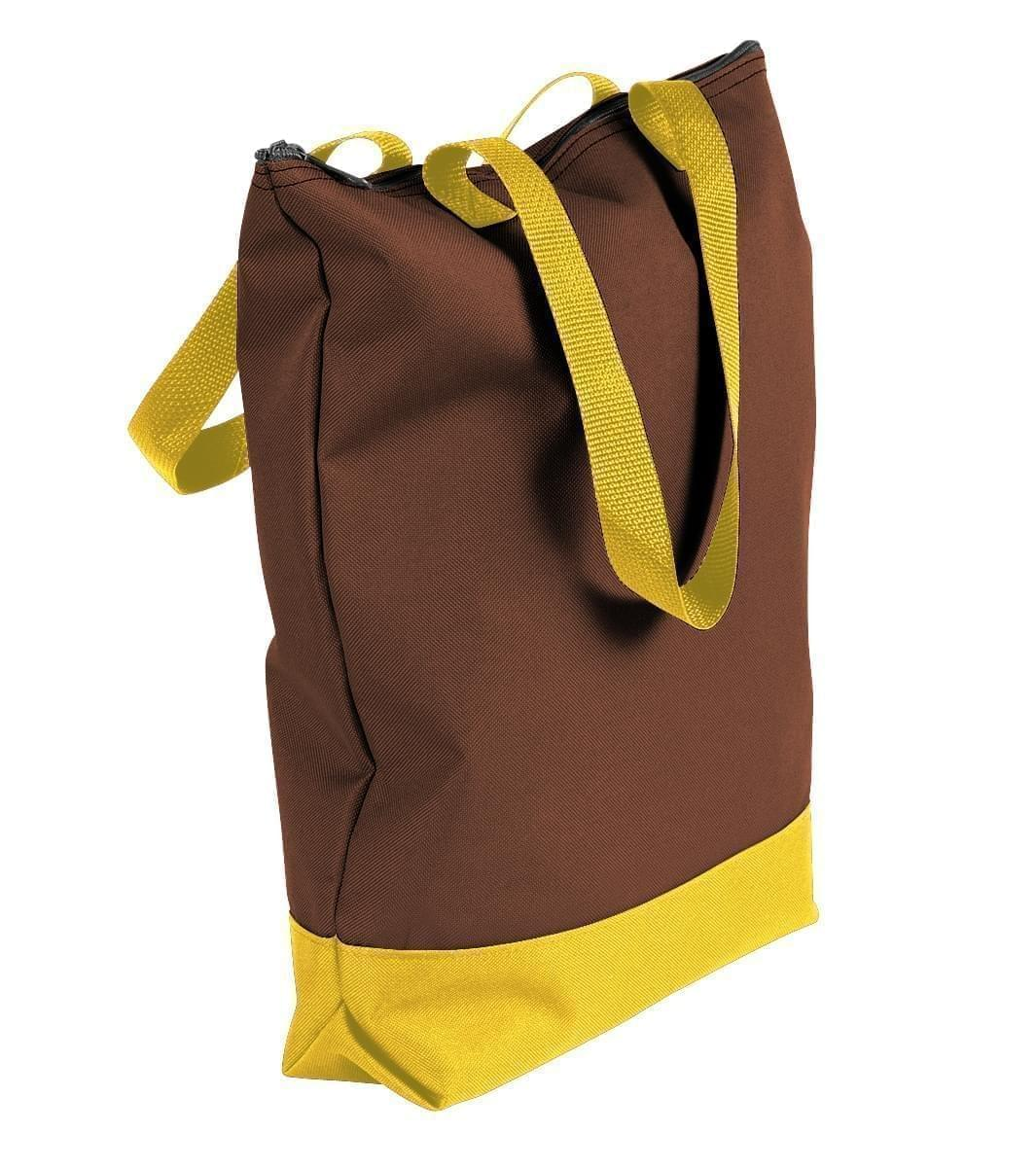 USA Made Canvas Portfolio Tote Bags, Brown-Gold, 1AAMX1UAA5