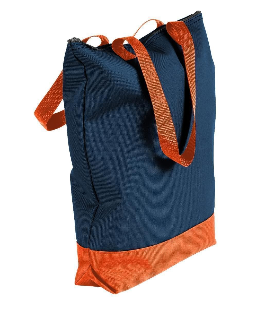 USA Made Canvas Portfolio Tote Bags, Navy-Orange, 1AAMX1UAC0