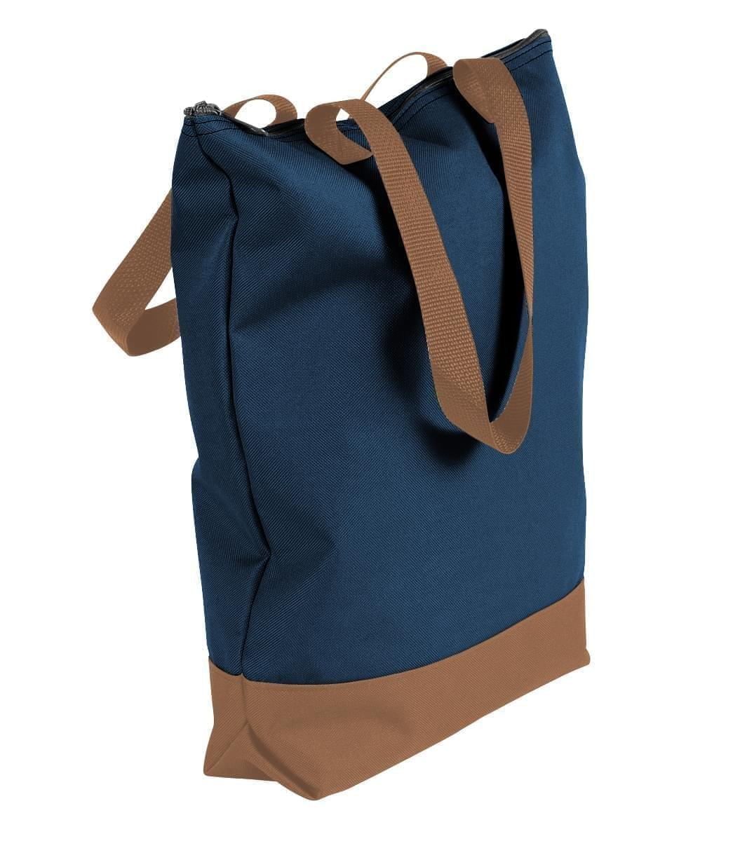 USA Made Canvas Portfolio Tote Bags, Navy-Bronze, 1AAMX1UACO