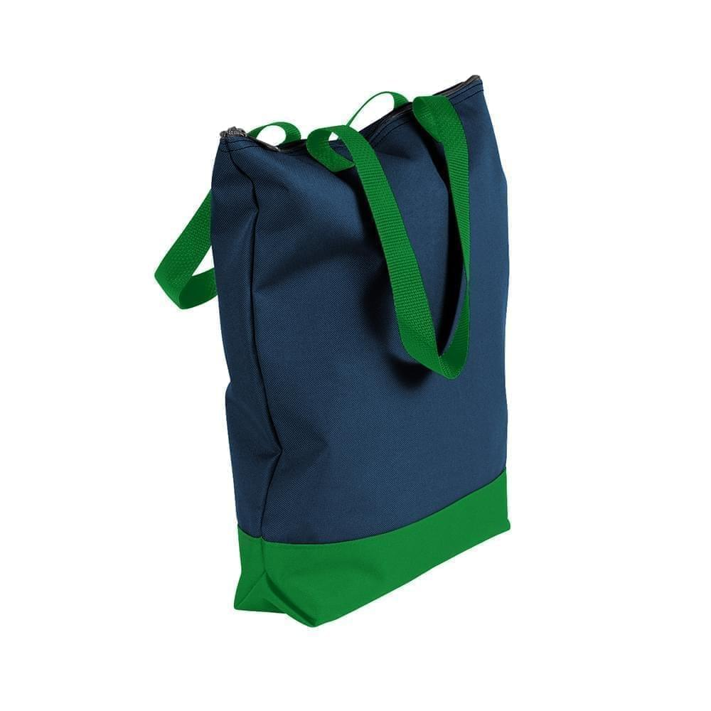 USA Made Canvas Portfolio Tote Bags, Navy-Kelly Green, 1AAMX1UACW