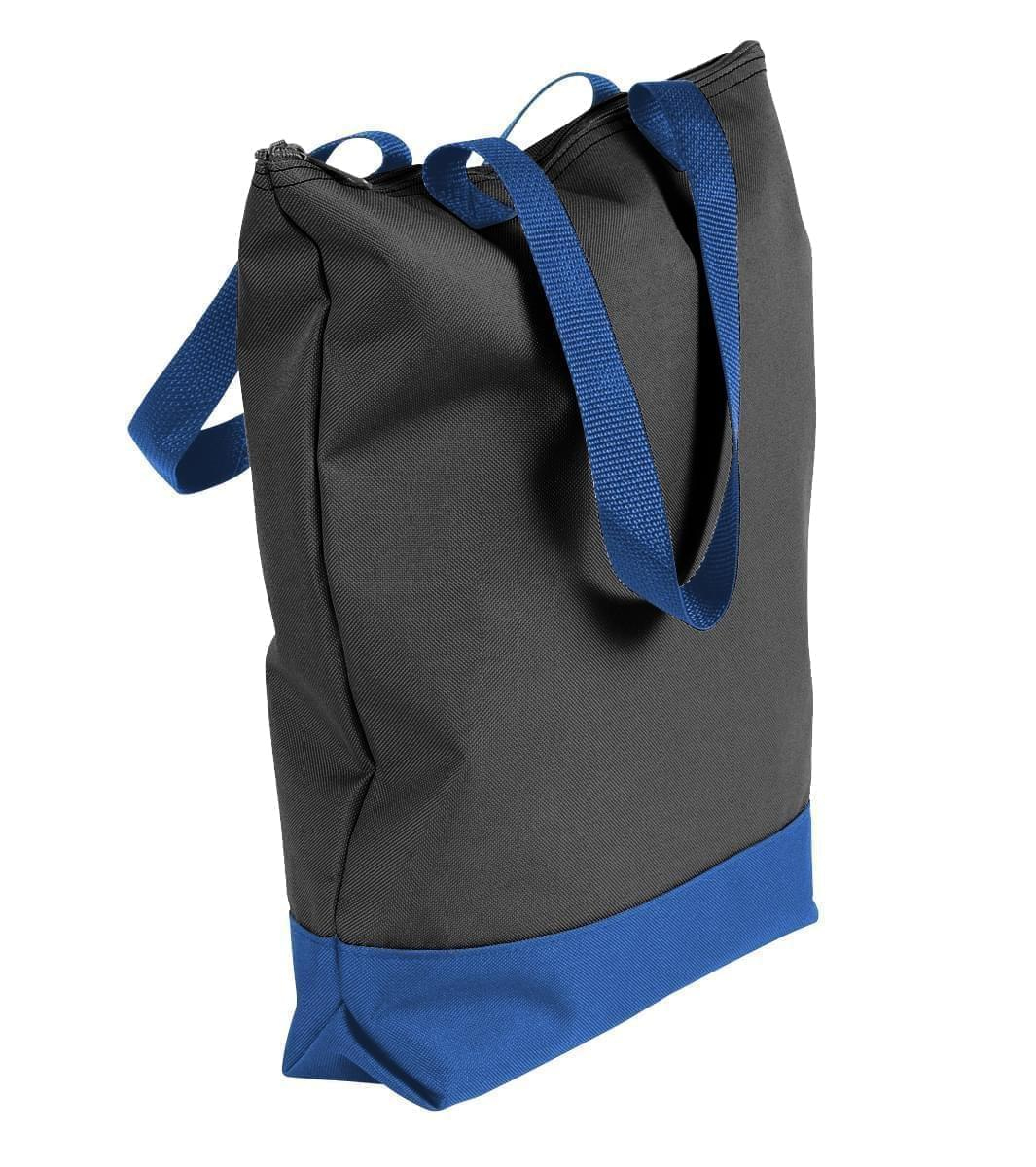 USA Made Canvas Portfolio Tote Bags, Black-Royal Blue, 1AAMX1UAH3